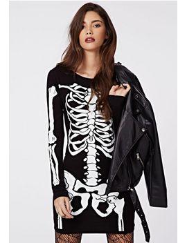 samara-skeleton-bodycon-dress-black by missguided