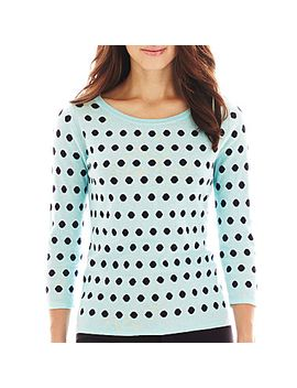 liz-claiborne®-3_4-sleeve-dot-sweater by liz-claiborne