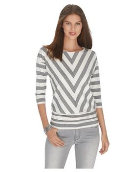 3_4-sleeve-shimmer-stripe-blouson-top by whbm
