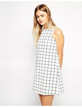 asos-scuba-shift-dress-in-check-print by asos-collection