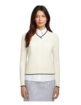 cotton-v-neck-sweater by brooks-brothers