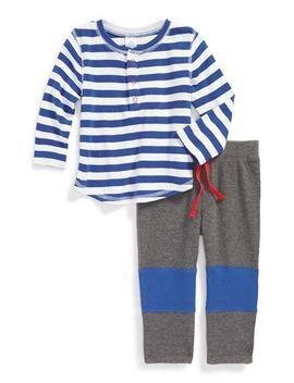 organic-cotton-stripe-t-shirt-&-waffle-knit-pants by stem-baby