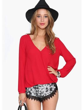 red-v-neck-long-sleeve-loose-blouse by sheinside