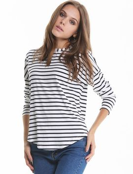 white-black-long-sleeve-striped-loose-t-shirt by sheinside