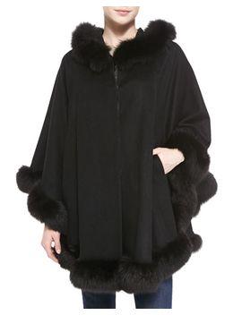 hooded-cashmere-cape-with-fox-fur-trim by sofia-cashmere