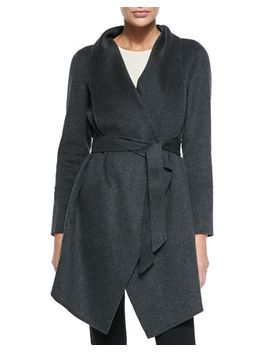 double-woven-cashmere-draped-coat,-charcoal by neiman-marcus-cashmere-collection