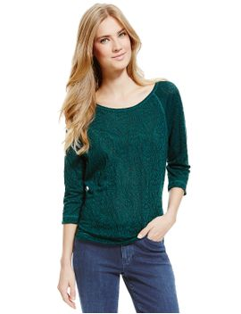 3_4-sleeve-textured-sweat-top by marks-&-spencer