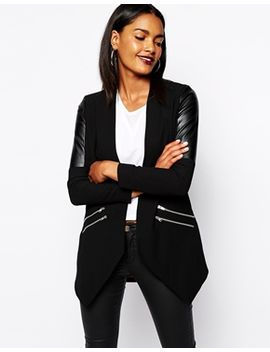 river-island-long-line-jacket-with-leather-look-inserts by river-island