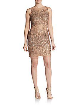 embellished-sleeveless-sheath-dress by adrianna-papell