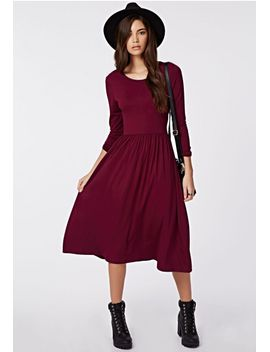 tilda-long-sleeve-jersey-midi-dress-oxblood by missguided
