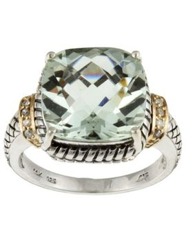 meredith-leigh-14k-gold-and-silver-green-amethyst-and-diamond-accent-ring by meredith-leigh
