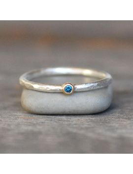 tiny-blue-diamond-ring---gold-and-silver-stack-ring---2mm-blue-diamond-stack-ring---eco-friendly-recycled by lilianginebra