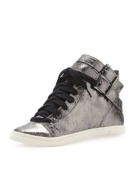aila-double-buckle-leather-sneaker,-silver by schutz