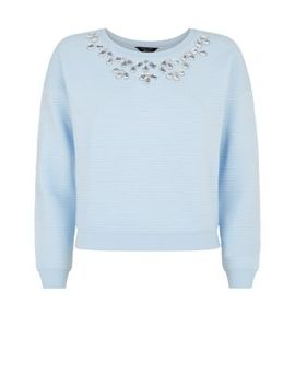 teens-light-blue-embellished-neck-quilted-sweater by new-look