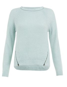 teens-mint-green-ribbed-double-zip-front-jumper by new-look