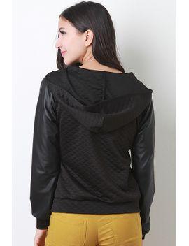 leatherette-sleeve-quilted-hoodie by urbanog