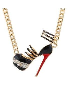 goldtone-with-black-and-red-iced-out-cut-out-heel-pendant-with-a-19-inch-link-necklace-(b-2017) by jotw