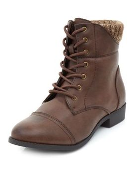 wide-fit-brown-knitted-cuff-lace-up-boots by new-look