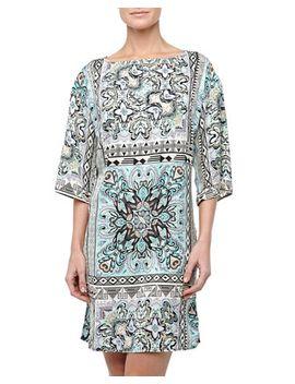 bohemian-scarf-kimono-dress,-blue_multicolor by laundry-by-design
