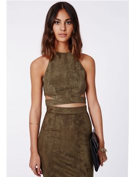 magdelan-faux-suede-cut-out-top-khaki by missguided