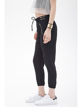 zippered-woven-joggers by forever-21