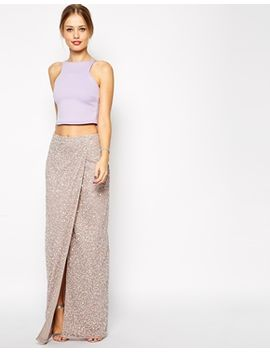 asos-maxi-skirt-in-sequins-with-wrap-front by asos-collection
