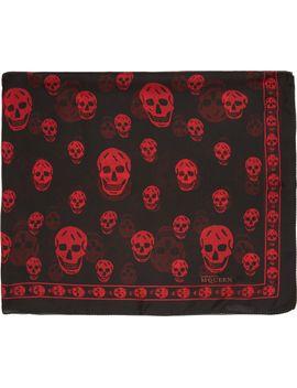 black-&-red-silk-skull-scarf by alexander-mcqueen