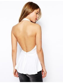 asos-peplum-top-with-halter-neck-and-open-back-in-crepe by asos-collection