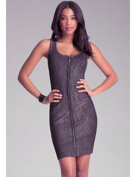 front-zip-foiled-dress by bebe
