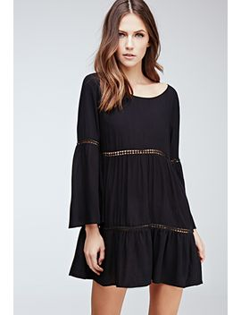 crochet-paneled-bell-sleeve-peasant-dress by forever-21