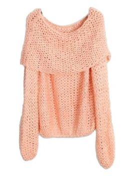 pink-off-shoulder-cable-hollow-out-loose-jumper by choies