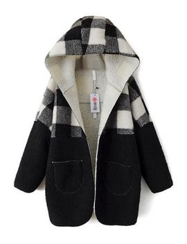 fashion-warm-plaid-open-front-black-woolen-coat by oasap