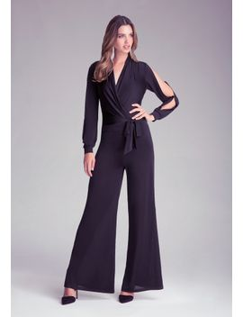 slinky-open-sleeve-jumpsuit by bebe