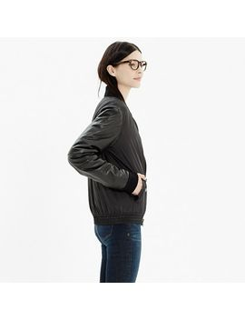 rivet-&-thread-leather-sleeve-bomber-jacket by madewell