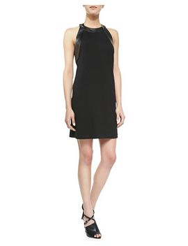 ruth-crepe-leather-trim-dress by alice-&-trixie