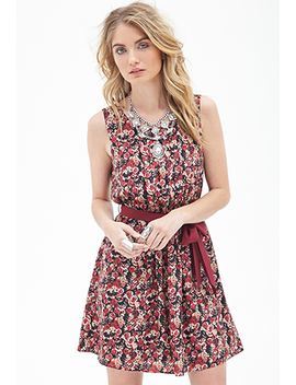 pleated-rose-print-dress by forever-21