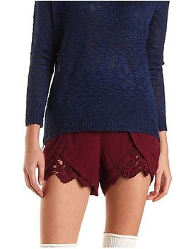 lace-trim-high-waisted-tulip-shorts by charlotte-russe