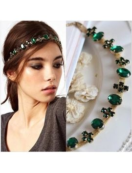 2014-new-fashion-hair-jewelry-green-glass-stone-gold-chain-headbands-for-women-headwear-hair-accessories by ali-express