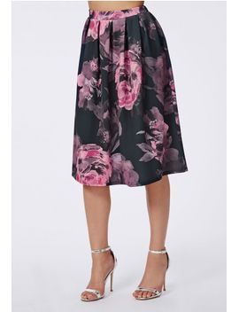 daliar-floral-print-midi-skater-skirt-black by missguided