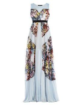kayda-halter-neck-pleated-print-blocked-gown by bcbgmaxazria