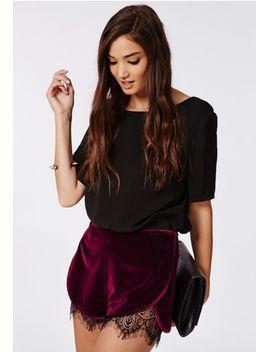 genine-velvet-lace-hem-runner-shorts-burgundy by missguided
