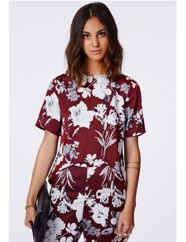aimee-floral-silk-feel-blouse-burgundy by missguided