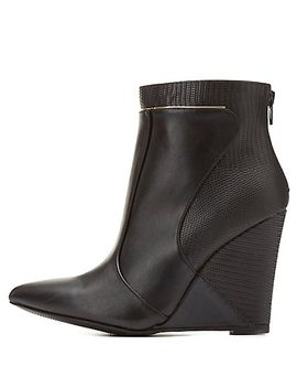 two-textured-wedge-booties by charlotte-russe