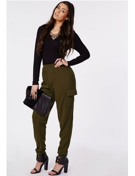 plus-size-cuff-hem-trousers-khaki by missguided