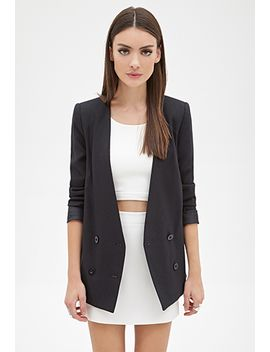 collarless-pinstriped-blazer by forever-21