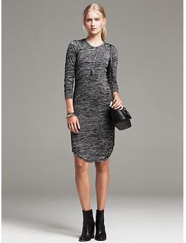 textured-knit-shirttail-dress by banana-repbulic
