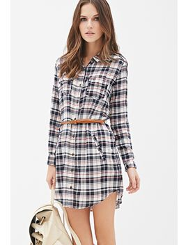 belted-plaid-shirt-dress by forever-21
