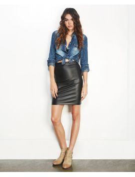 faux-leather-coated-midi-skirt by wet-seal