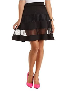 organza-striped-skater-skirt by charlotte-russe