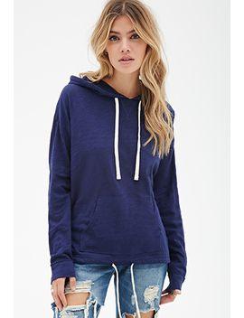 slub-knit-drawstring-hoodie by forever-21